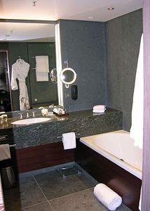 Bathroom in the Exectuive Studio room # 360 at the InterContinental Berchtesgaden, Obersalzburg.