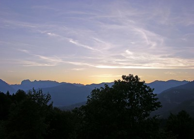 Sunset View from room 360 at the InterContinental Berchtesgaden, Obersalzburg.