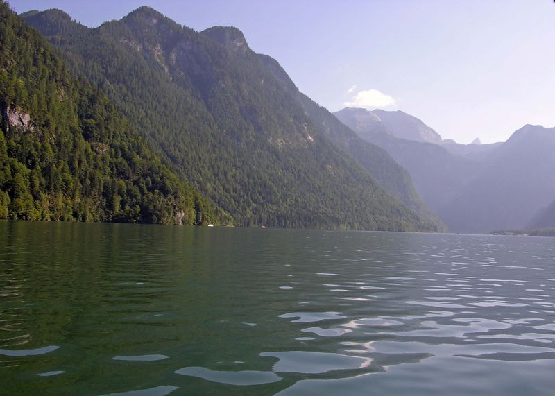 View of mountains surrounding the Königsee.