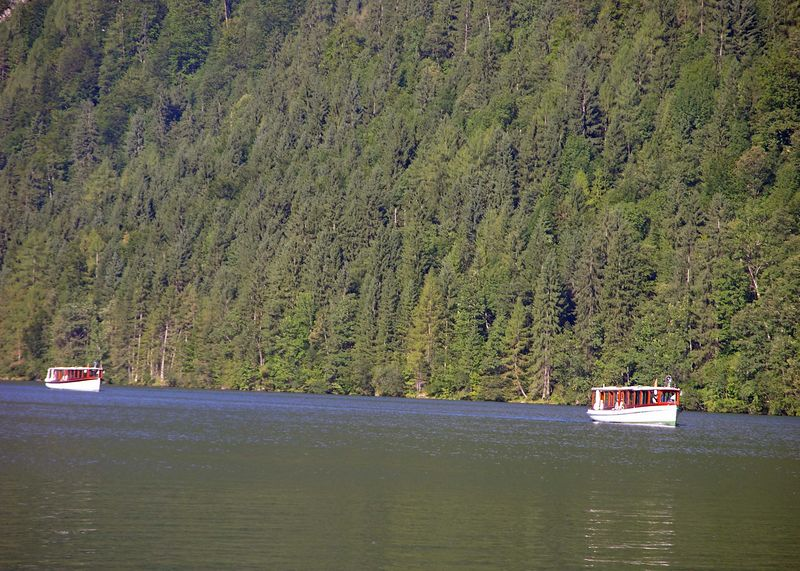 Two electric boats cruising the Königsee.