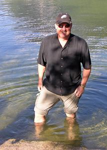Brett bathing in the cold Königsee.
