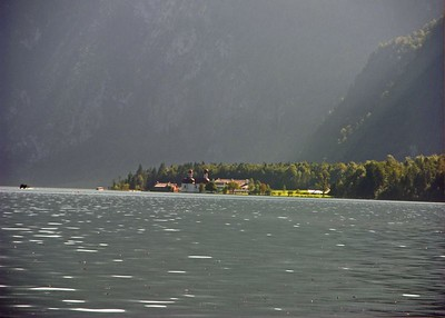 View across the Königsee of the Catholic Chapel of St. Bartholomew which was once a favored hunting lodge of Bavarian Kings.