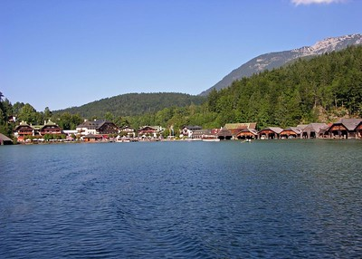 View of Königsee town from the lake.
