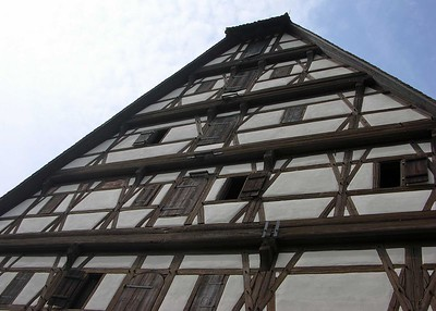 View of the old graniery, which is one of the oldest buildings in Dinkelsbuhl.