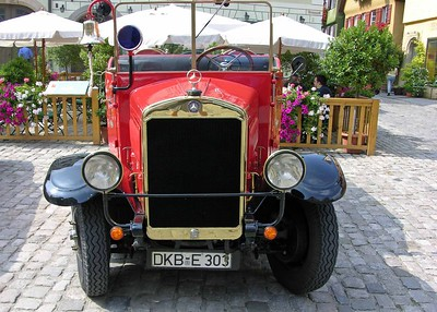 Front view of classic Mercedes firetruck.