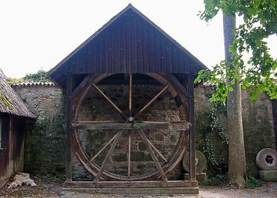 Old mill wheel and stones.