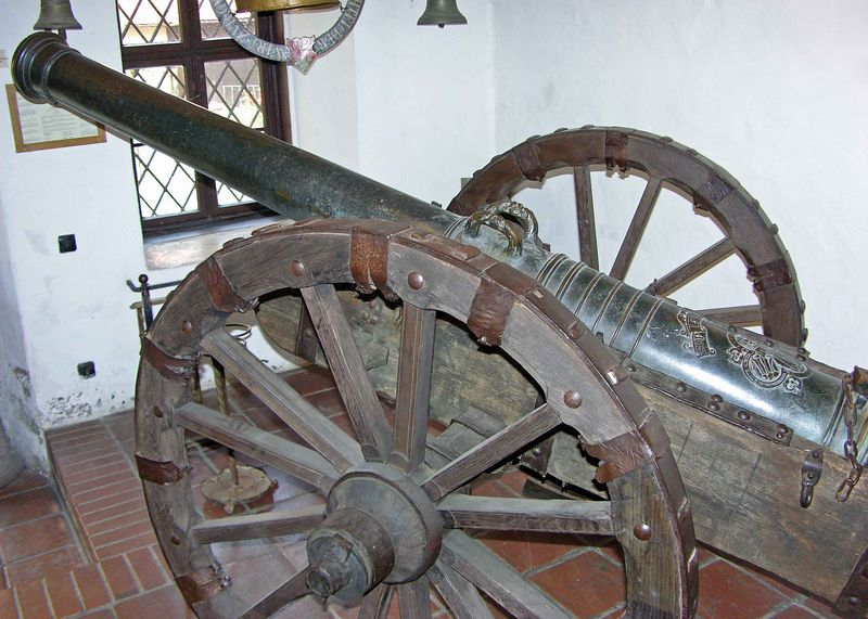 View of medieval cannon used during the 30 years war inside the Dinkelsbuhl historical museum.