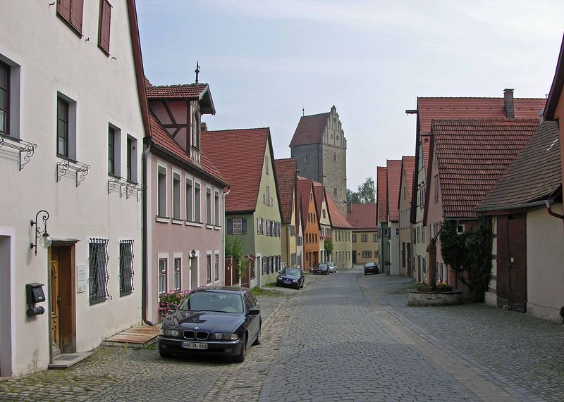 View down Obere Scmiedgasse towards the Rothenburger Tor.