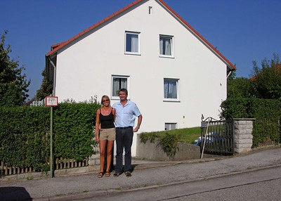 Hermann & Martina Burger in front of their house on the outskirts of Dinkelsbuhl.