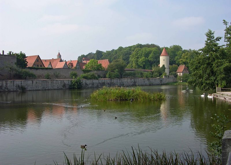 View of the Faulturn Tower or prison across the Gaulweiher pond.
