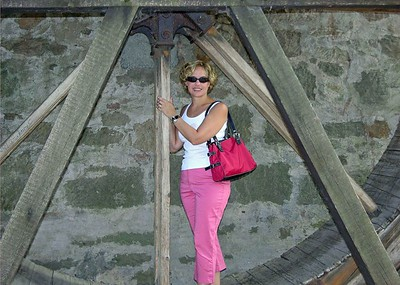 Jodi on the old mill wheel.