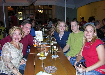 Jodi, Brett, Michaela, Heine and Katka at a Bavarian restaurant along the Marienplatz.