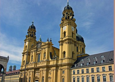 View of the Theatinerkirche along Theatinerstrasse.