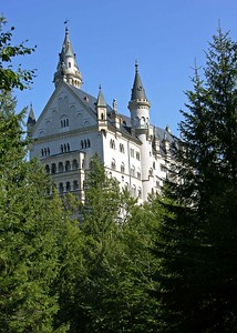 Rear view of Neuschwanstein which was commissioned by Mad King Ludwig II in the late 1800's.  He only lived in the castle for 6 weeks since the cost of the castle almost bankrupt Bavaria and he was declared legally insane.  Two days later he was found dead in a nearby lake.  No one is sure if it was suicide or murder.