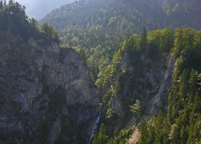 View of the Marienbrücke and Pollät Gorge  from Neuschwanstein.