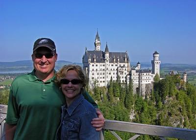 Brett & Jodi  standing on the Marienbrücke in front of Schloss Neuschwanstein.