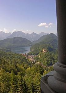 View of Große Alpsee and Schloss Hohenschwangau from rear of  Neuschwanstein.