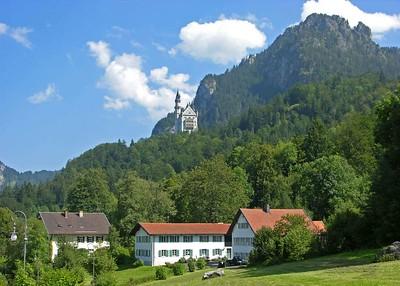 View of Neuschwanstein from Hohenschwangau village.