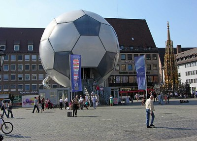 2006 World Cup Soccer Ball in the Nuremberg Hauptmarkt.