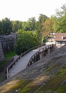 View of bridge crossing the dried moat to the Kaiserburg.