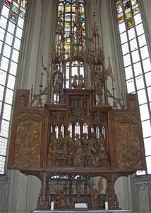 "Famous woodcarving in St. Jakob's Church by Tilman Riemenschneider.  The ""Altar of the Holy Blood"" was carved from 1499 to 1504."