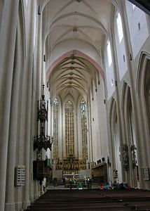 Inside St. Jakob's Church which was built in the 14th century and has been Lutheran since 1544.