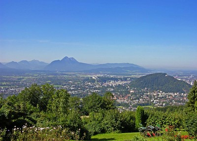 View of Salzburg from surrounding hills.
