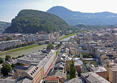 View of Salzburg's Neustadt (left) and Altstadt (right) and the Salzach river.