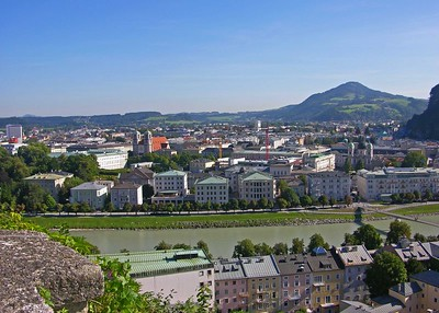 View of Salzburg's Neustadt and the Salzach river.