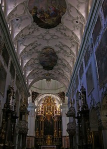 Inside St. Peter's Church with its famous frescoed ceiling.