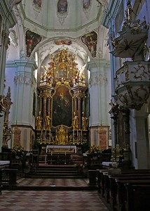 View of altar in St. Peter's Church.