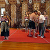 Waitangi ceremonial welcoming of visitors to the Meeting House in Bay of Islands, New Zealand.