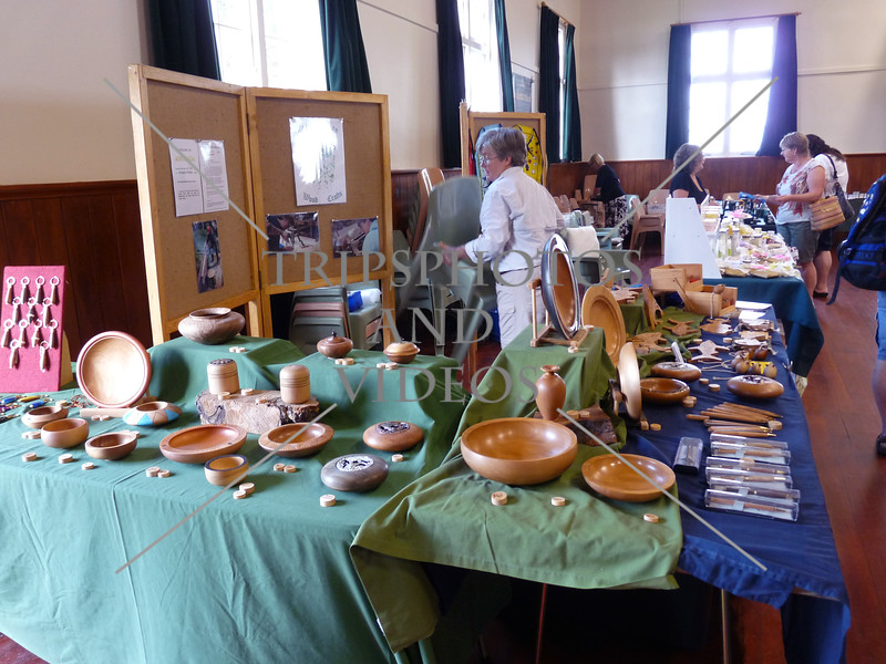Craft market displays inside Russell Town Hall in Bay of Islands, New Zealand.