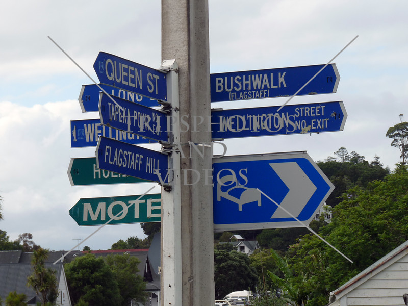Street signs at Paihia Village in Bay of Islands, New Zealand.