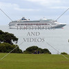 Cruise ship anchored off the shore of Bay of Islands, New Zealand.