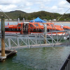 Cruise ship tender boat at Waitangi Wharf in Bay of Islands, New Zealand.