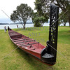 Maori War Canoe and its tailboard.