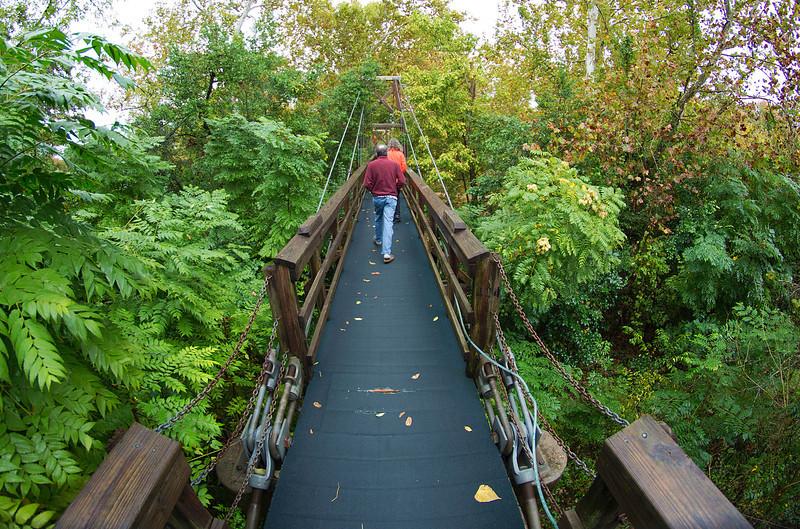 Crossing Buffalo Bayou on the suspension foot bridge
