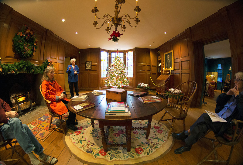 We sit for a spell in the Pine Room.