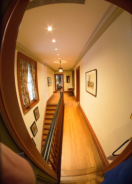 The house's upstairs hallway.