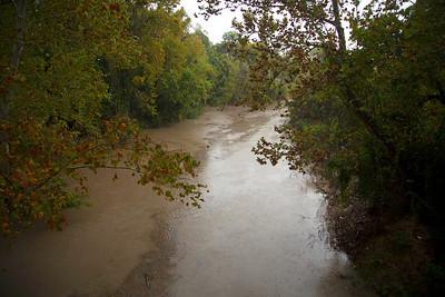Rain-swollen Buffalo Bayou