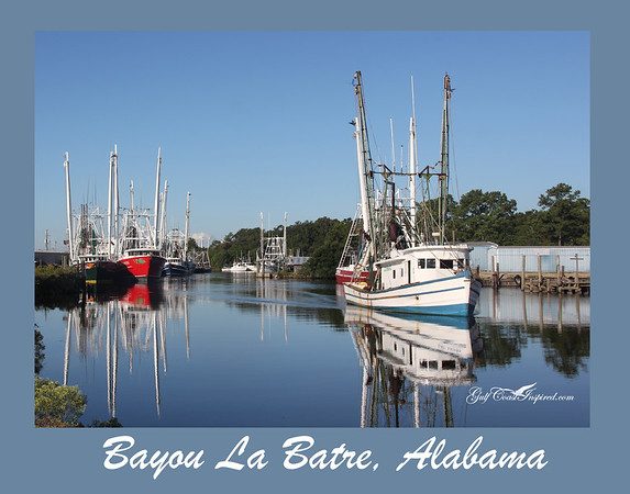 View of steel hull trawlers and an old wooden shrimp trawler taken from St. Margaret's dock near the bridge at Bayou La Batre, AL.