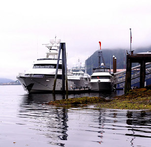 Right next to the old dump is a private dock that rents out space to the fancy yachts that come through in the summer.