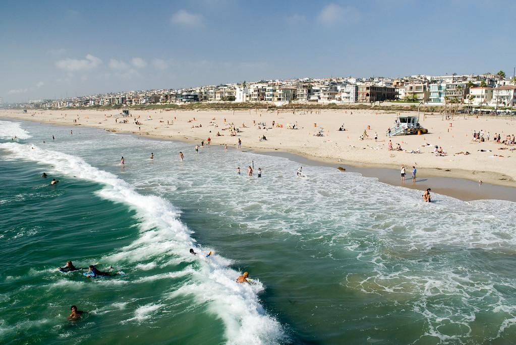 Surfing at Manhattan Beach.