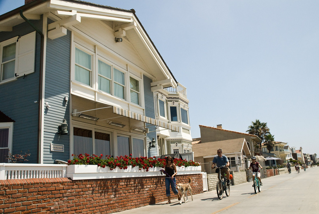 A room with a view: houses at the beach boardwalk.