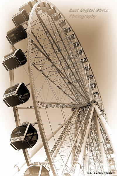 Black and White Skywheel.  Myrtle Beach at dawn.