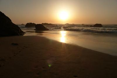 The sunset on the beach