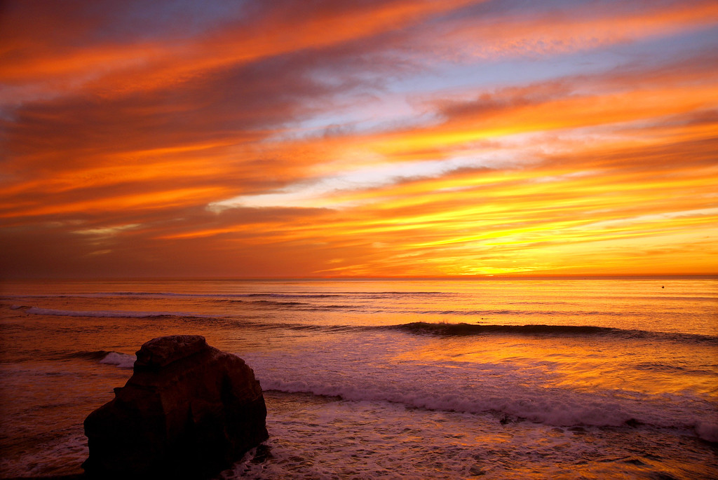Sunset view from Sunset Cliffs area of San Diego, California.
