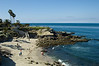 The beach at La Jolla Cove and the blue Pacific on a picture perfect day.