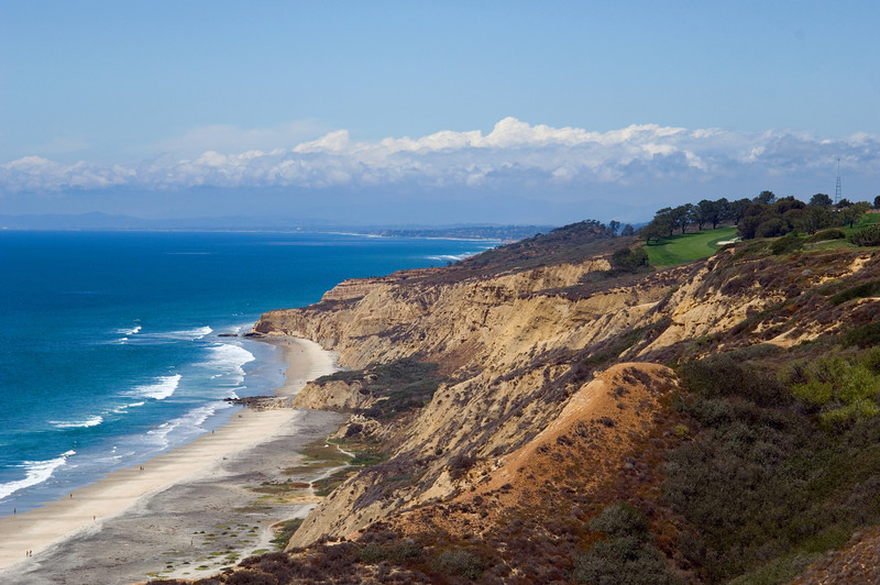 View of Torrey Pines State Beach with the famous golf course hugging the cliffs above.